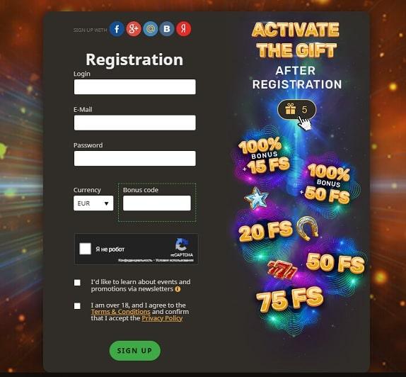 Registration at Play Fortuna casino